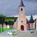 「にわか雨の教会」 F8・2016年