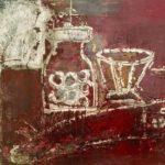 小林真由子「赤い食卓」F6・油彩