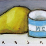 笠井誠一 「洋梨とコーヒー茶碗」M3・油彩