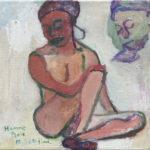 傍島幹司「黒人の男のモデル」20×20cm・油彩