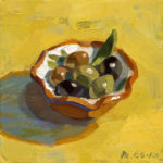 蛯子真理央「オリーブの小皿」20×20cm・油彩